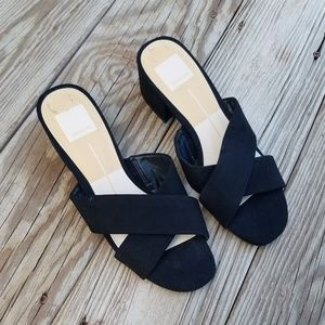 Anthropologie Dolce Vita Black Suede Mules